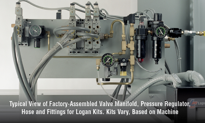 Typical View of Factory-Assembled Valve Manifold, Pressure Regulator, Hose and Fittings for Logan Kits. Kits Vary, Based on Machine