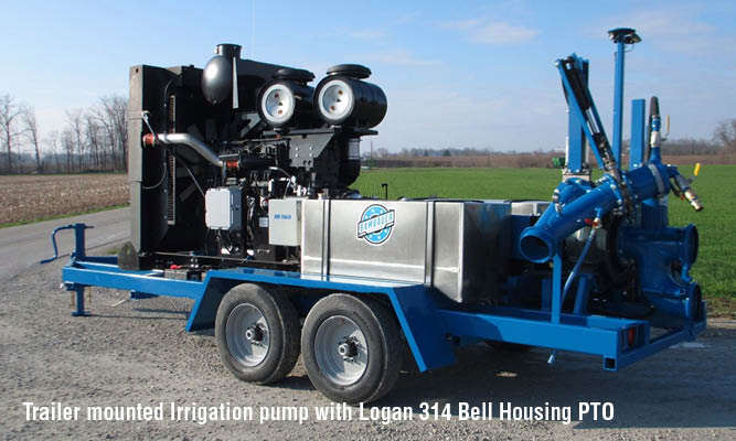 Trailer mounted Irrigation pump with Logan 314 Bell Housing PTO