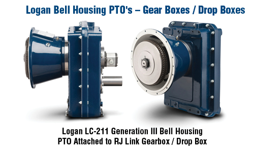 Gear Boxes. Logan LC-211 Generation III Bell Housing PTO Attached to Gearbox / Drop Box