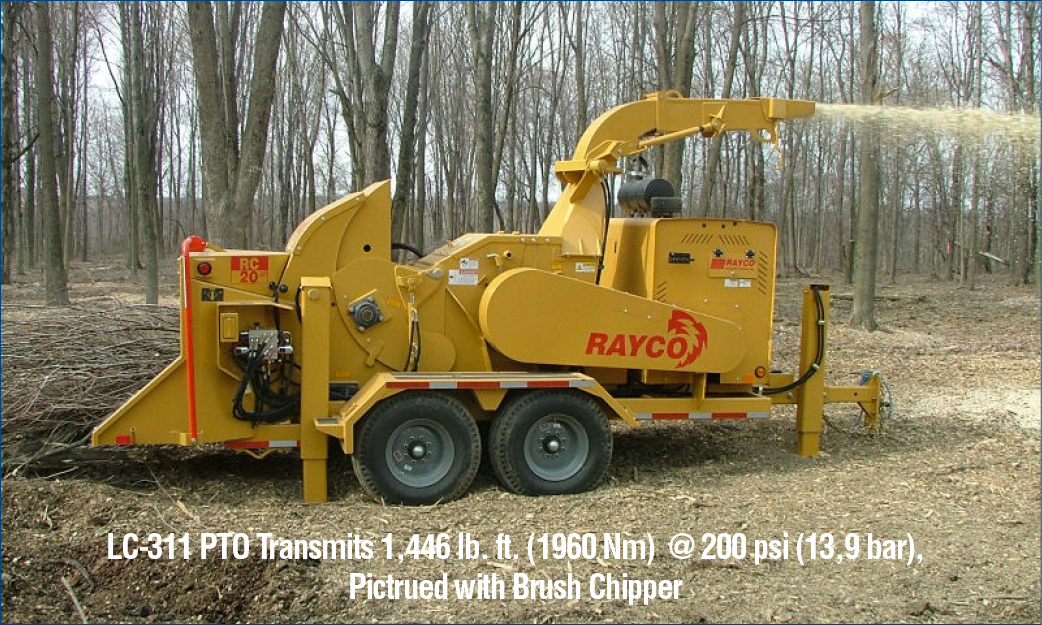 LC-311 PTO Transmits 1,446 lb. ft. (1960 Nm) @ 200 psi (13,9 bar), Pictrued with Brush Chipper