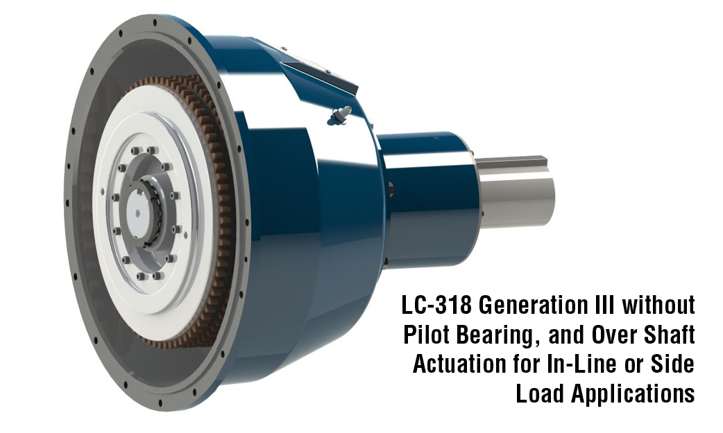 LC-318 Generation III without Pilot Bearing, and Over Shaft Actuation for In-Line or Side Load Applications