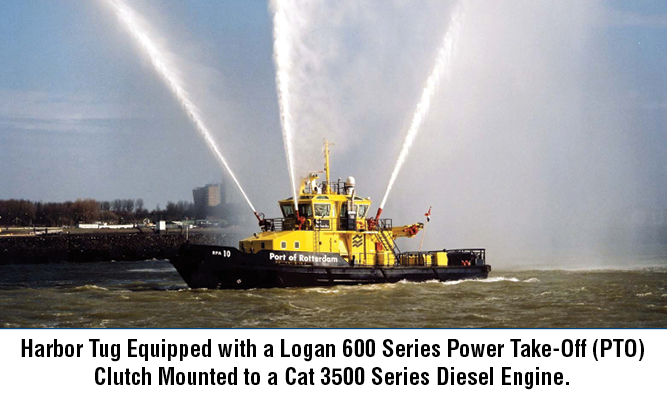 Harbor Tug Equipped with a Logan 600 Series Power Take-Off (PTO) Clutch Mounted to a Cat 3500 Series Diesel Engine.