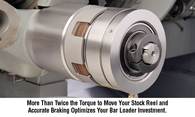 More Than Twice the Torque to Move Your Stock Reel and Accurate Braking Optimizes Your Bar Loader Investment.