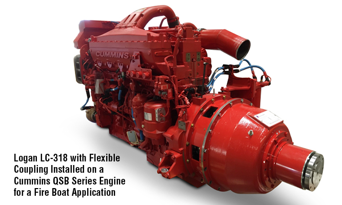 Logan LC-318 with Flexible Coupling Installed on a Cummins QSB Series Engine for a Fire Boat Application