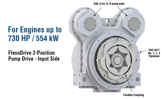 For Engines up to 730 HP / 554 kW. FlexaDrive 2-Position Pump Drive - Input Side