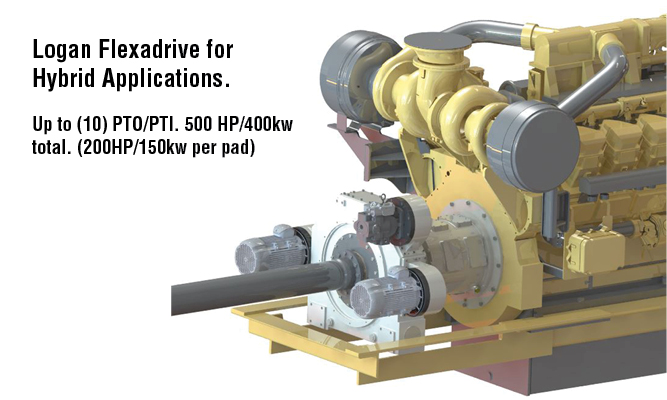 Logan Flexadrive for Hybrid Applications. Up to (10) PTO/PTI. 500 HP/400kw total. (200HP/150kw per pad)