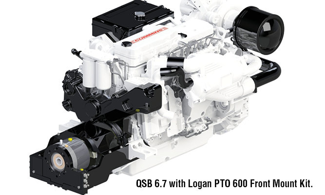 Cummins QSB 6.7 with Logan PTO 600 Front Mount Kit.