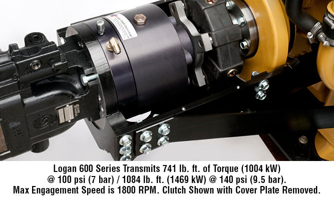Logan 600 Series transmits 741 lb. ft. of torque (1004 kW) @ 100 psi (7 bar) / 1084 lb. ft. (1469 kW) @ 140 psi (9.5 bar). Max engagement speed is 1800 RPM. Clutch shown with cover plate removed.