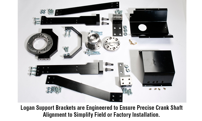 Logan Support Brackets are Engineered to Ensure Precise Crank Shaft Alignment to Simplify Field or Factory Installation.