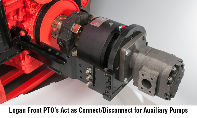 Logan Front PTO's Act as Connect/Disconnect for Auxiliary Pumps