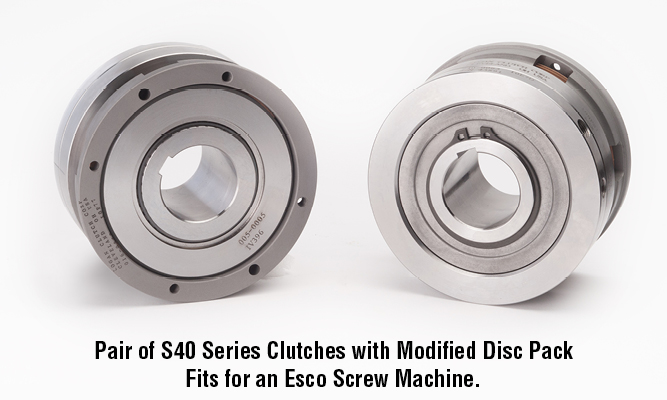 Pair of S40 Series Clutches with Modified Disc Pack Fits for an Esco Screw Machine.