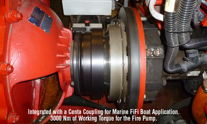 Integrated with a Centa Coupling for Marine fifi Boat Application.  3000 Nm of Working Torque for the Fire Pump.