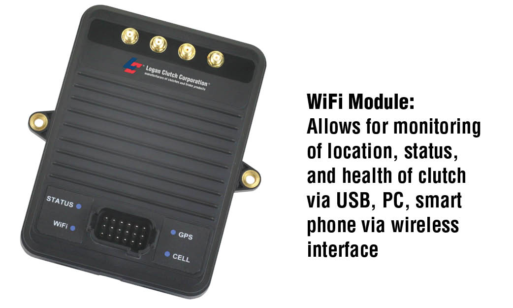 WiFi Module: Allows for monitoring of location, status, and health of clutch via USB, PC, smart phone via wireless interface