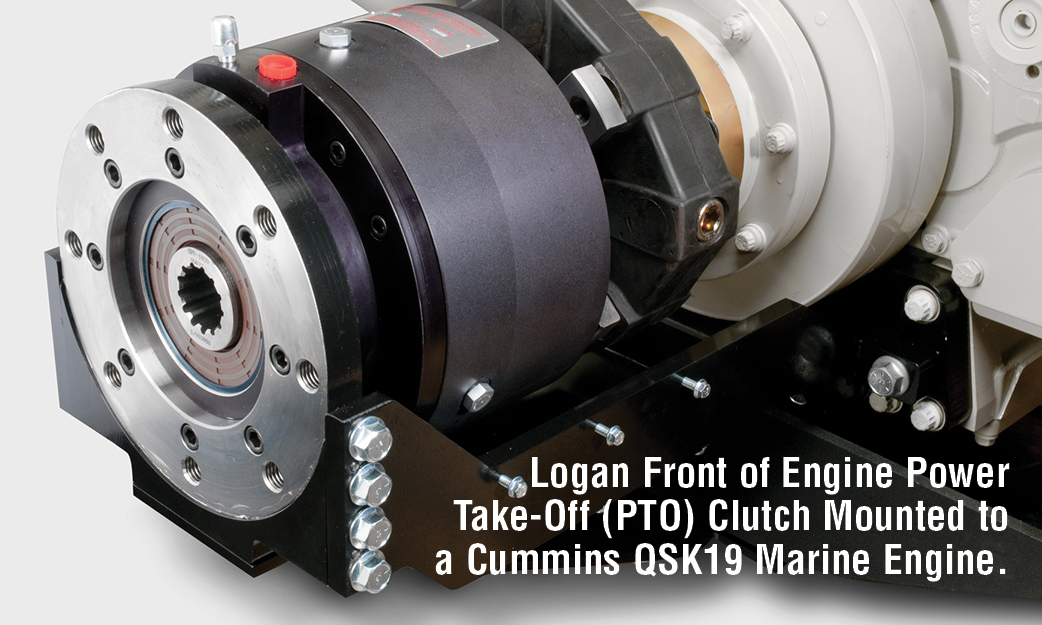 Logan Front of Engine Power Take-Off (PTO) Clutch Mounted to a Cummins QSK19 Marine Engine.