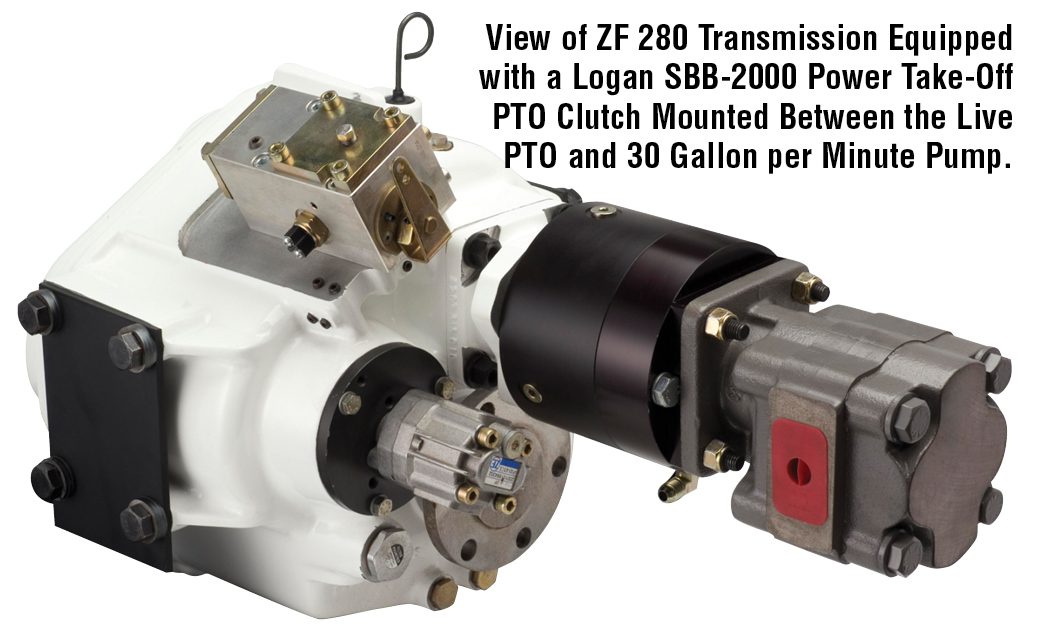 View of ZF 280 Transmission Equipped with a Logan SBB-2000 Power Take-Off PTO Clutch Mounted Between the Live PTO and 30 Gallon per Minute Pump.