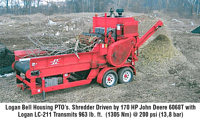Logan Bell Housing PTO's. Shredder Driven by 170 HP John Deere 6068T with Logan LC-211 Transmits 963 lb. ft. (1305 Nm) @ 200 psi (13,8 bar)