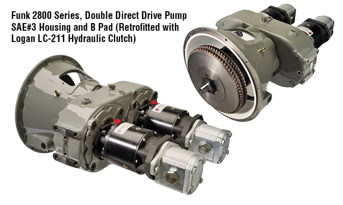 Funk 2800 Series, Double Direct Drive Pump SAE#3 Housing and B Pad (Retrofitted with Logan LC-211 Hydraulic Clutch)