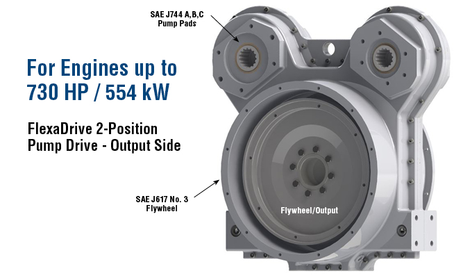 For Engines up to 730 HP / 554 kW, FlexaDrive 2-Position Pump Drive - Output Side