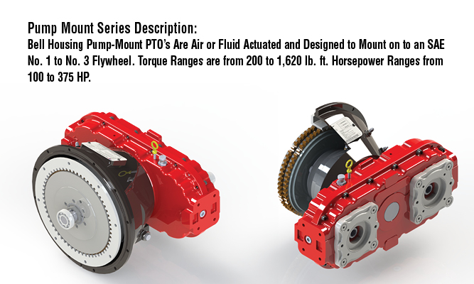 Pump Mount Series Description: Bell Housing Pump-Mount PTO's Are Air or Fluid Actuated and Designed to Mount on to an SAE No. 1 to No. 3 Flywheel. Torque Ranges are from 200 to 1,620 lb. ft.