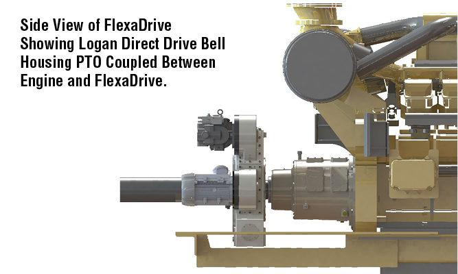 Side View of FlexaDrive Showing Logan Direct Drive Bell Housing PTO Coupled Between Engine and FlexaDrive.