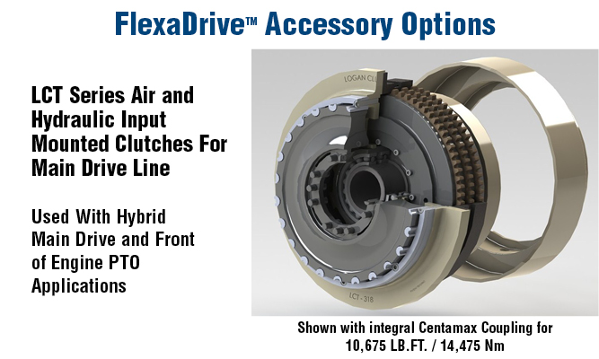 FlexaDrive Accessories. LCT Series Air and Hydraulic Input Mounted Clutches For Main Drive Line Used With Hybrid Main Drive and Front of Engine PTO Applications