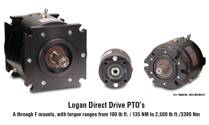 Logan Direct Drive PTO A through F mounts, with torque ranges from 100 lb ft. / 135 NM to 2,500 lb ft./3389 Nm