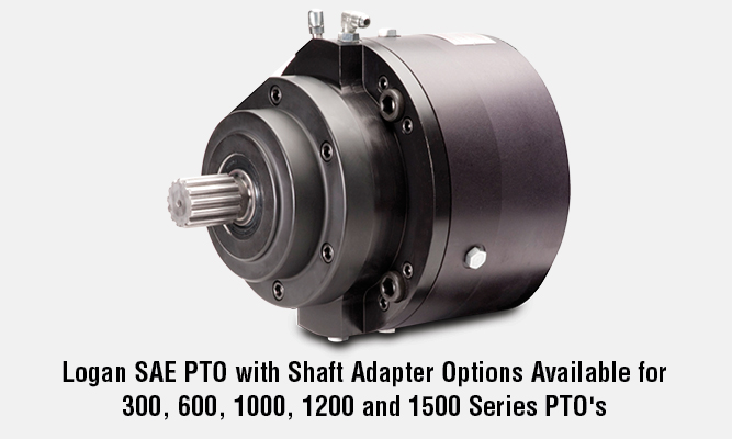 Logan SAE PTO with Shaft Adapter Options Available for 300, 600, 1000, 1200 and 1500 Series PTO\'s
