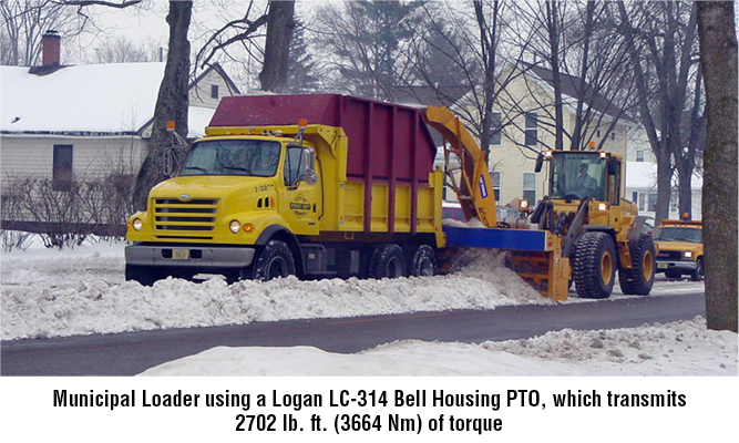 Municipal Loader using a Logan LC-314 Bell Housing PTO, which transmits 2702 lb. ft. (3664 Nm) of torque