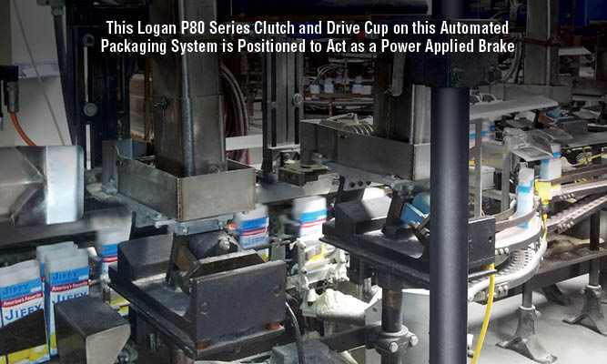 This Logan P80 Series Clutch and Drive Cup on this Automated Packaging System is Positioned to Act as a Power Applied Brake