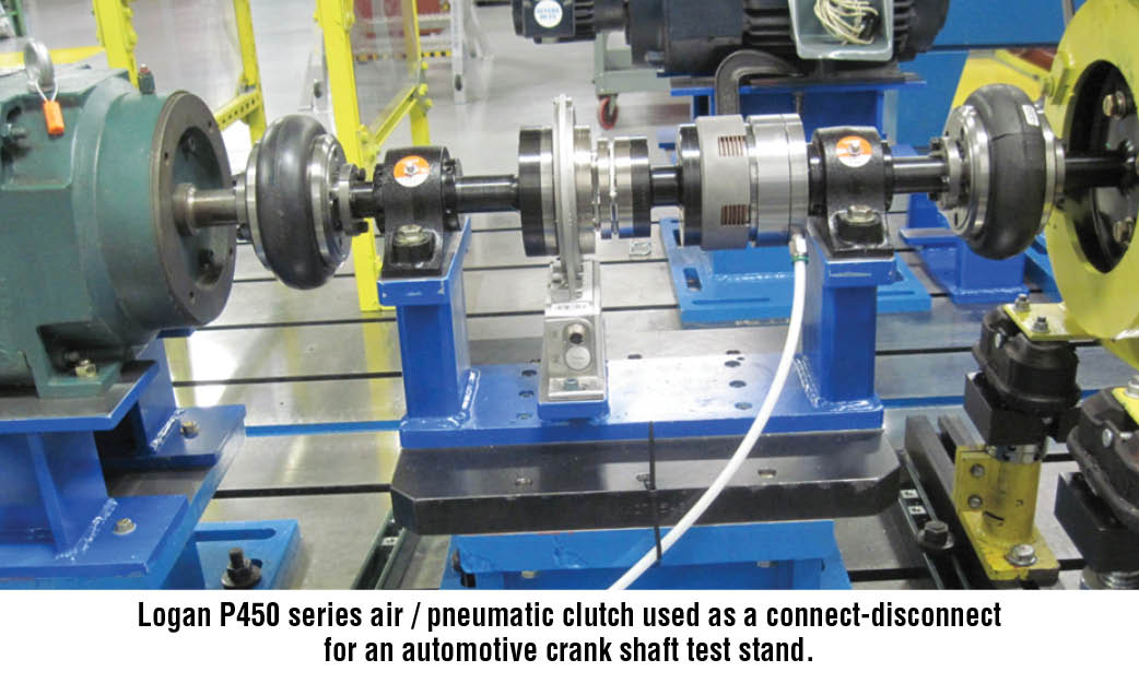 Logan P450 series air / pneumatic clutch used as a connect-disconnect for an automotive crank shaft test stand