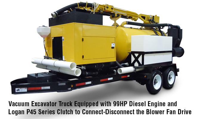 Vacuum Excavator Truck Equipped with 99HP Diesel Engine and Logan P45 Series Clutch to Connect-Disconnect the Blower Fan Drive