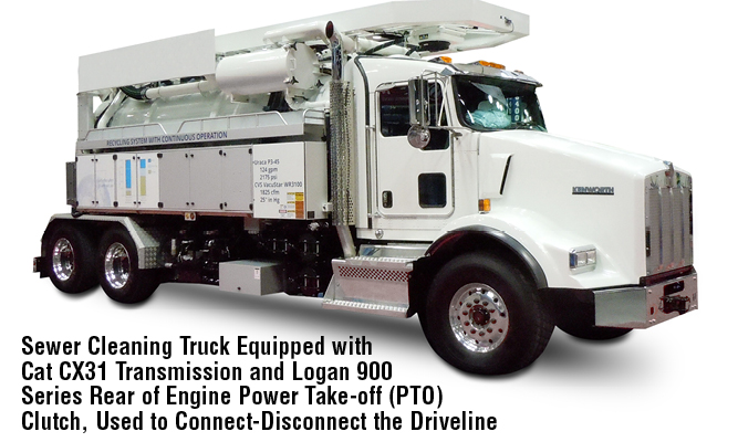 Sewer Cleaning Truck Equipped with Cat CX31 Transmission and Logan 900 Series Rear of Engine Power Take-off (PTO) Clutch, Used to Connect-Disconnect the Driveline